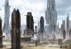 Sci-fi vista with giant skyscrapers and flying ships