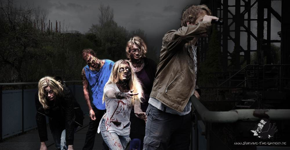 Zombiehorden werfen sich den Protagonisten entgegen