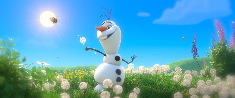 Ein Schneemann, der sich nach dem Sommer sehnt.