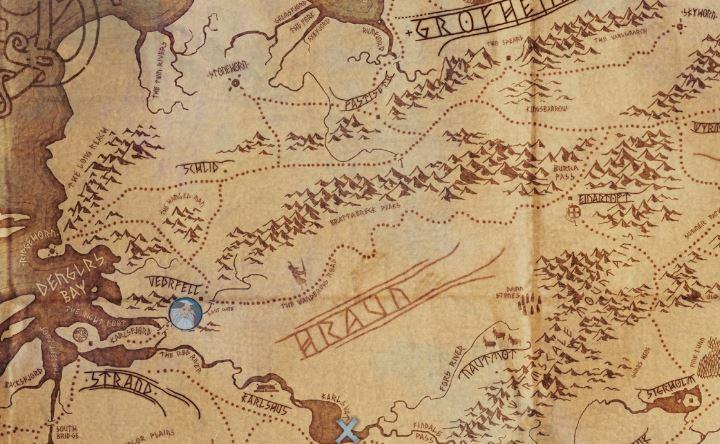 Schön ausgestaltete Welt: Informationen über alle Orte gibt es per Klick auf der gezeichneten Karte.