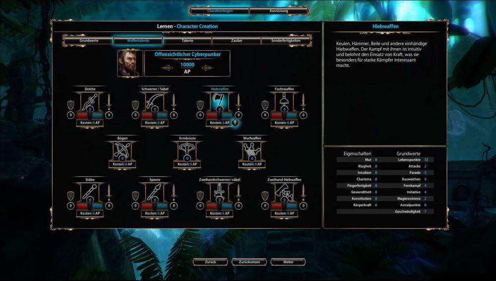 Ob Spezialist oder Allrounder, Magier oder Nahkämpfer, die Charaktererschaffung von Blackguards lässt viele Optionen zu.