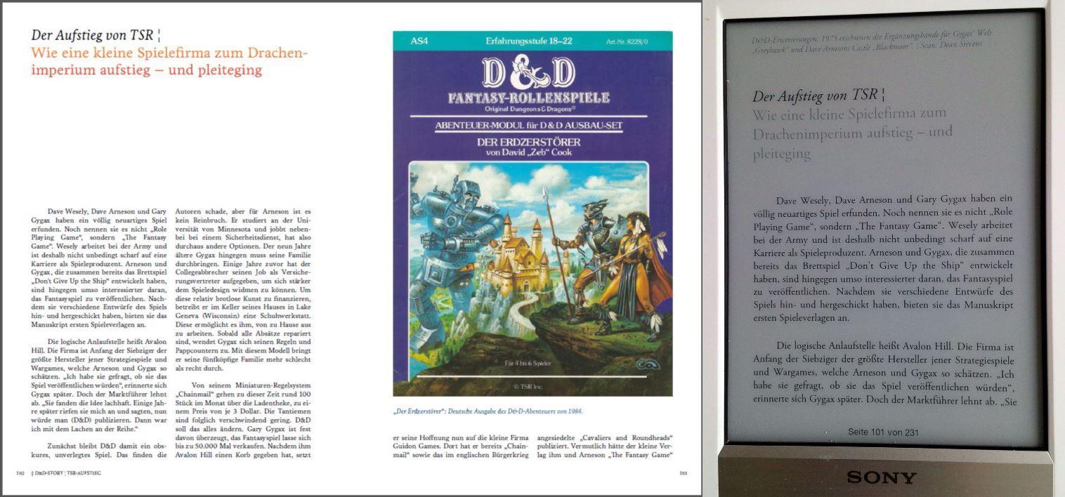 PDF-Doppelseite und EPUB im Vergleich.