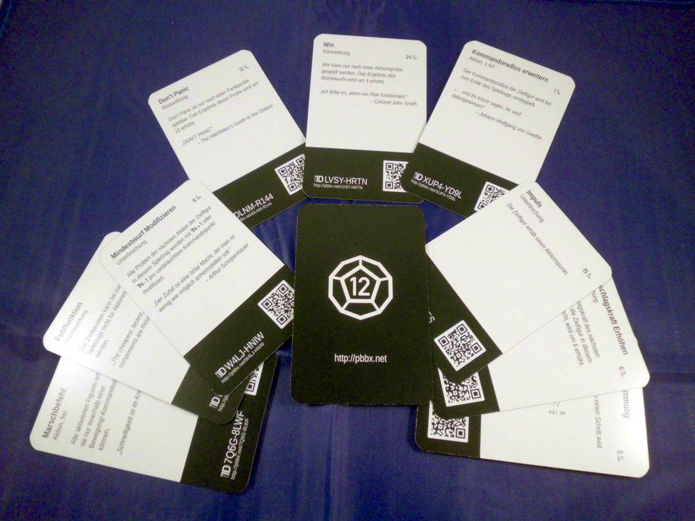 Eine Auswahl der Spielkarten von Pb-12.