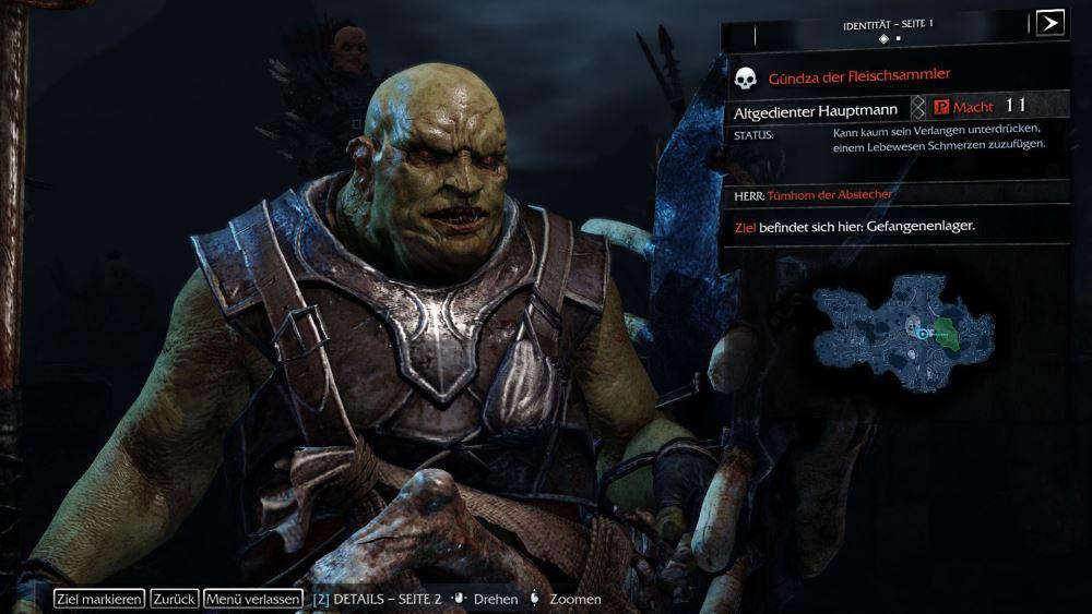 Im Nemesis-System kann Talion jederzeit Details zu den Ork-Anführern sowie deren Position in der Welt einsehen.