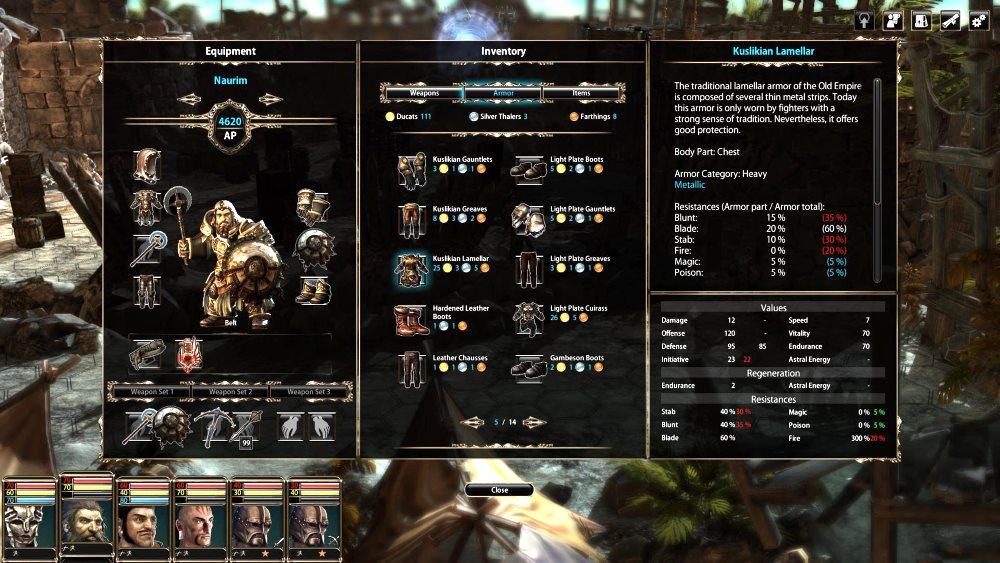 Der Charakterschirm zeigt sich detailreich und stimmungsvoll