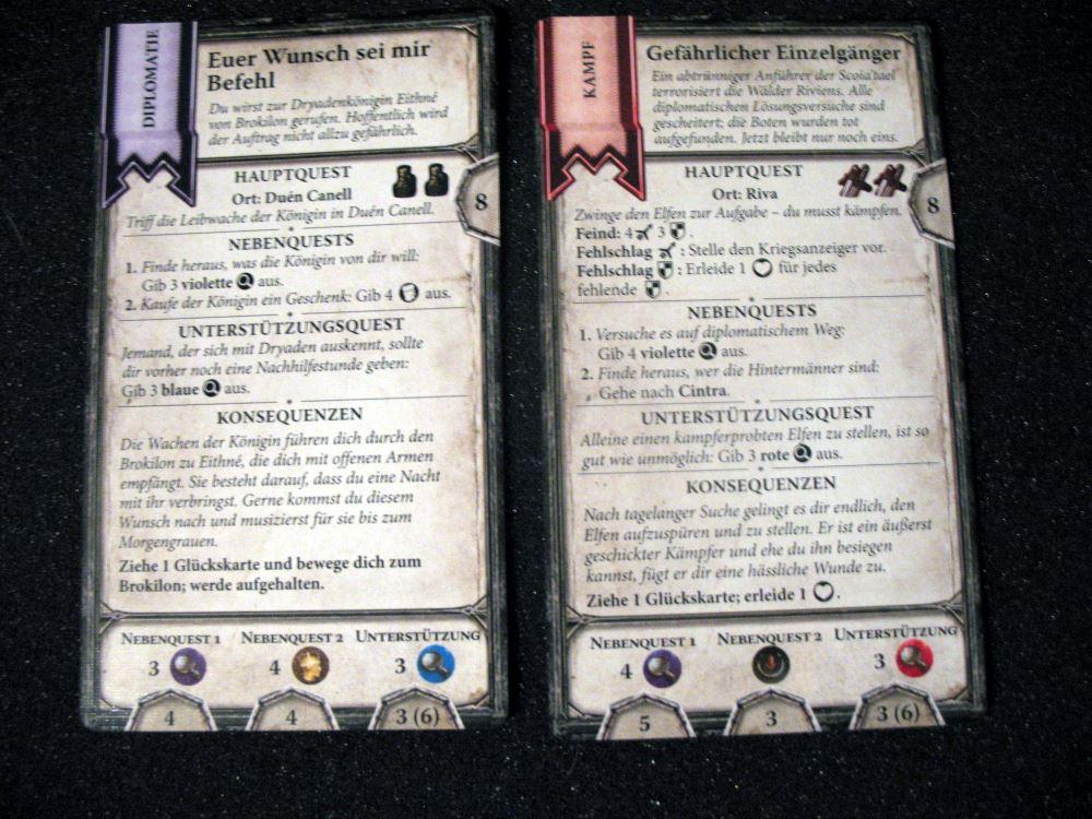 Beispielhaft zwei Questkarten: Links Diplomatie, rechts Kampf.