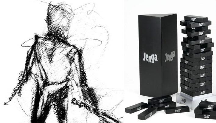 Besonders gut zu Dread passt die zugegeben etwas teure Onyx Edition von Jenga. Oder man malt die eigenen Holzsteine einfach schwarz an.