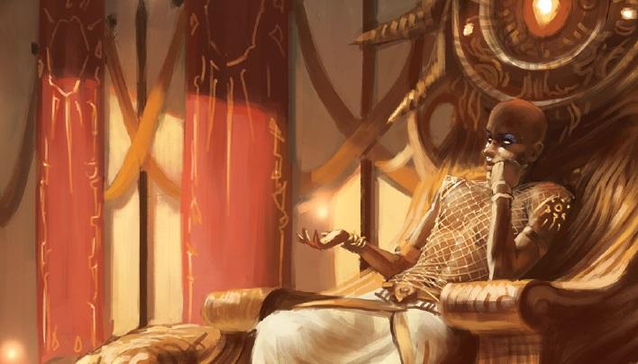 Der Sonnengott Zarivya auf seinem Thron. Götter müssen dabei nicht wie Menschen aussehen; ihre Gestalt formt sich nach ihrer Macht, ihren Taten und dem Willen der Spieler.
