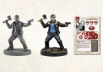Rick Grimes als Render, bemalte Miniatur und die Profilkarte. (c) Mantic Games