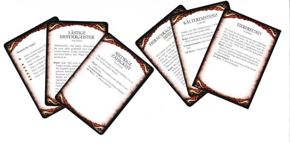 Vor- und Nachteile Kartenset DSA5