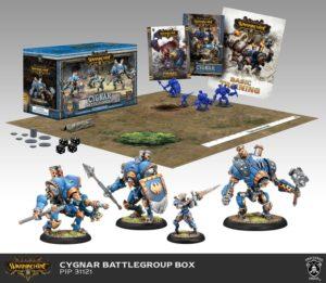 Als Beispiel – die Battlegroup der Fraktion Cygnar.
